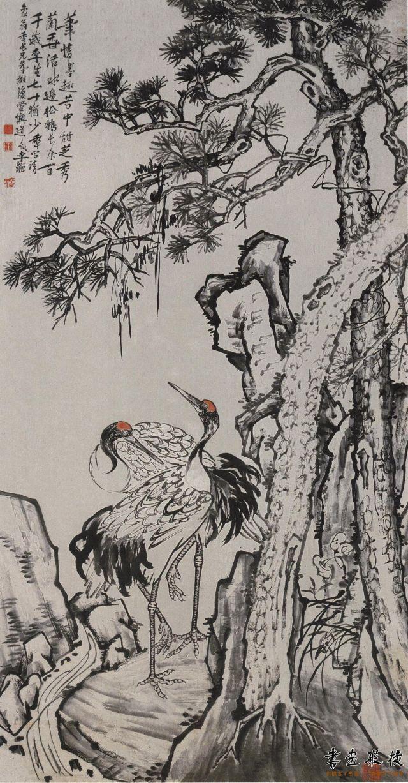 清 李鱓 松鹤图 纸本 设色 纵181厘米 横94.5厘米 广东省博物馆藏