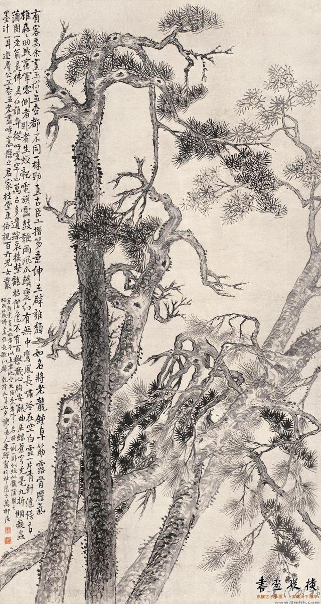 清 李鱓 五松图