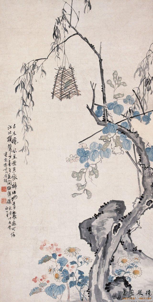 清 李鱓 扁豆蚱蜢图 纵123厘米 横62厘米