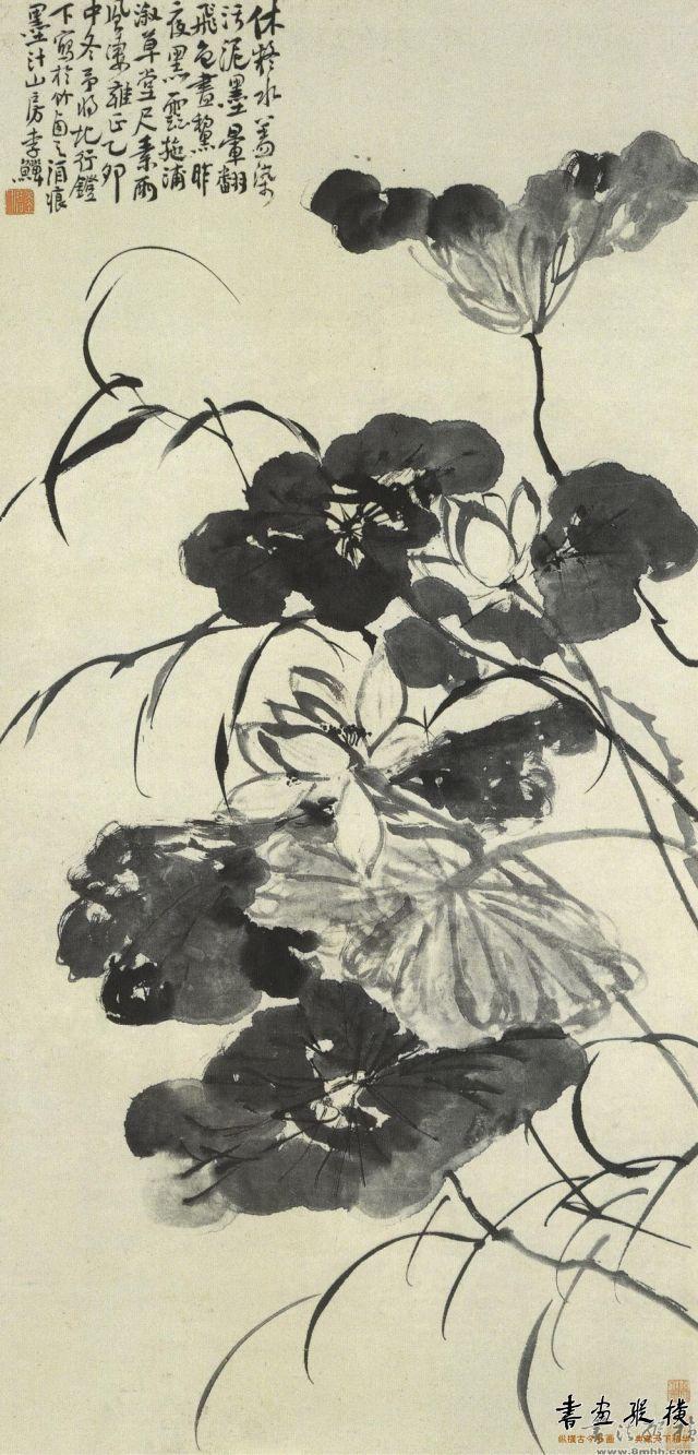 清 李鱓 墨荷图