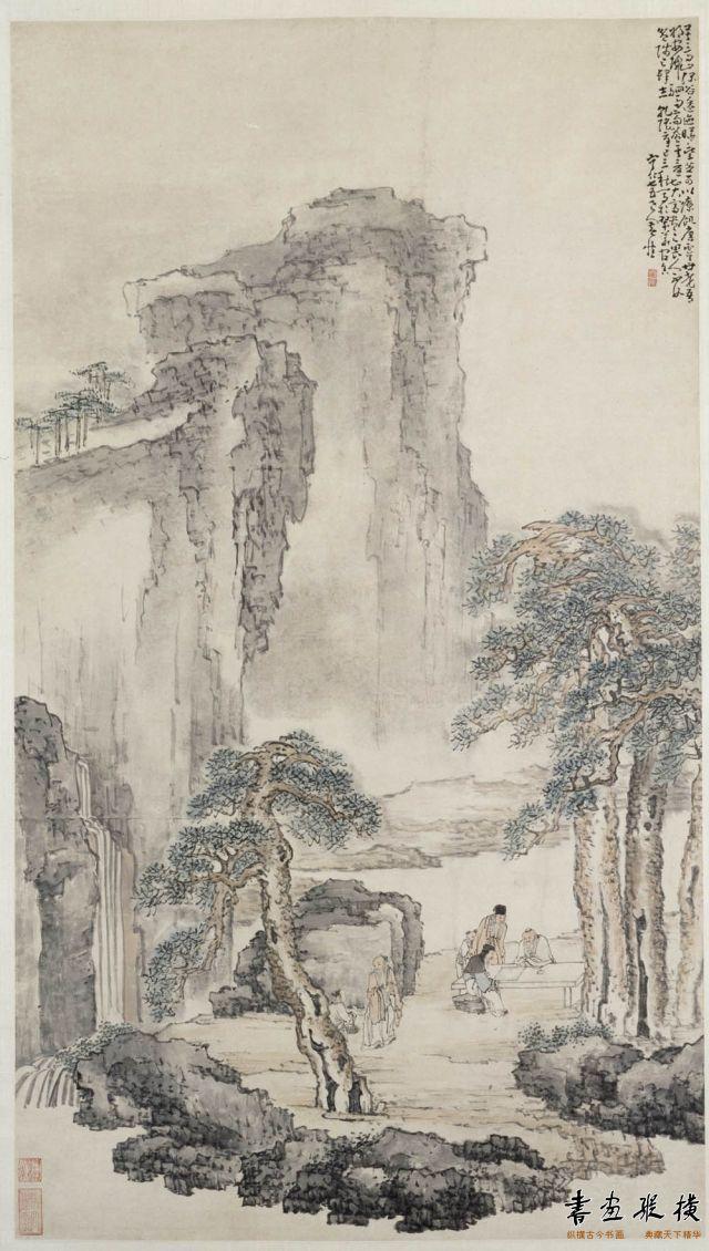 清 黄慎 商山四皓图 纸本 设色 纵120.2厘米 横68厘米 故宫博物院藏