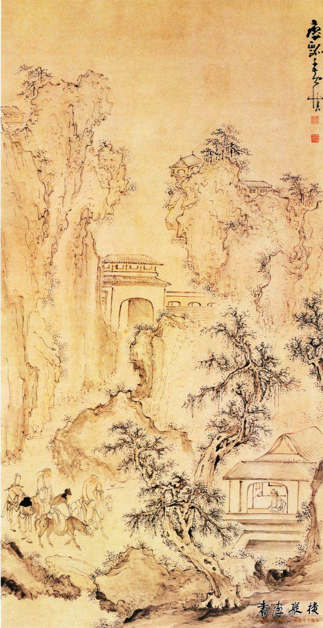 清 黄慎 四老图 纸本 设色 纵168厘米 横88.5厘米 上海博物馆藏