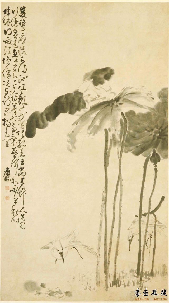 清 黄慎 荷鹭图 纸本 墨笔 纵130.2厘米 横71.2厘米 故宫博物院藏