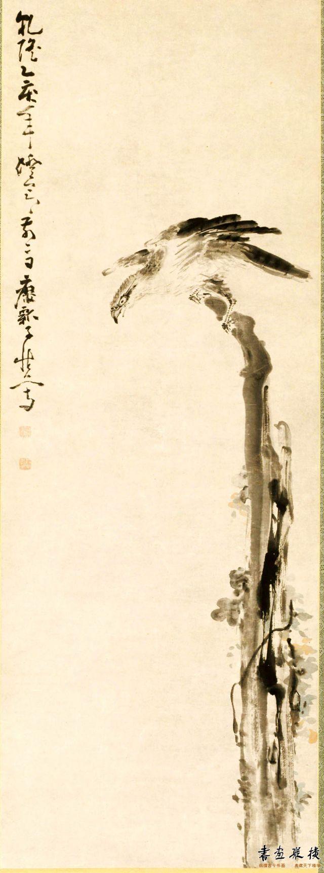 清 黄慎 鹰树图 纸本 墨笔 纵123.3厘米 横234.4厘米 克利夫兰美术馆藏