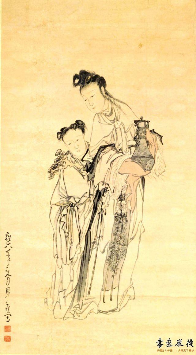 清 黄慎 麻姑献寿图 纸本 设色 纵163.3厘米 横90.5厘米 故宫博物院藏