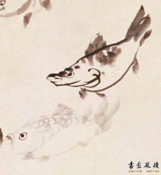 清 李方膺 游鱼图 局部