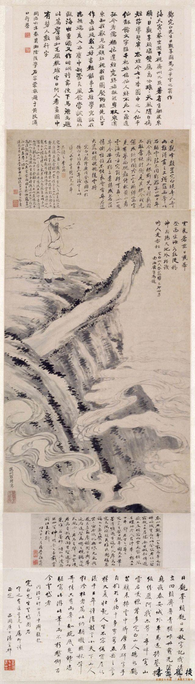 清 罗聘 邓石如登岱图 纸本 墨笔 纵83.5厘米 横51厘米 故宫博物院藏
