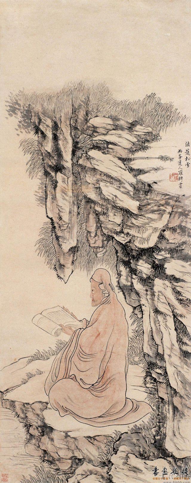 清 罗聘 达摩读易图 纸本 设色 纵84.5厘米 横34厘米