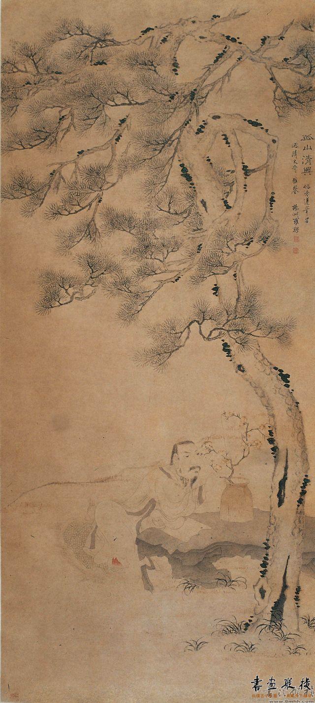 清 罗聘 孤山清兴图 纸本 设色 纵123厘米 横55.5厘米