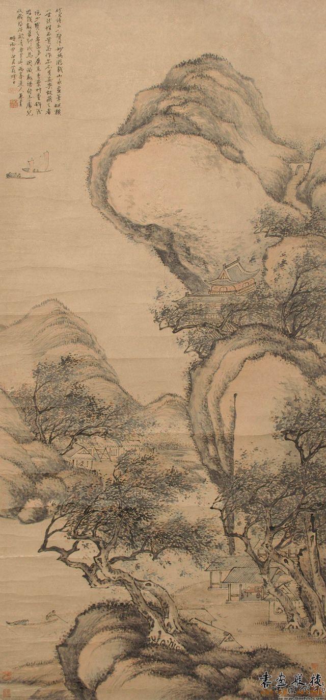 清 罗聘 山水立轴 纸本 设色 纵131厘米 横61厘米