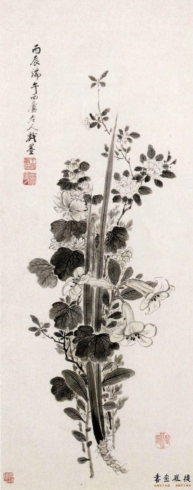 清 王时敏 端午图 纸本 墨笔 纵100.8厘米 横40.1厘米 故宫博物院藏