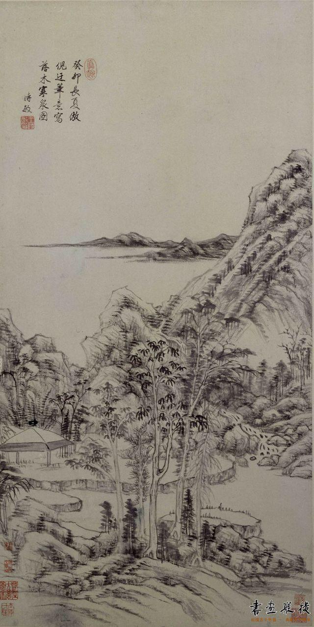 清 王时敏 落木寒泉图 纸本 墨笔 纵83厘米 横41.2厘米 故宫博物院藏