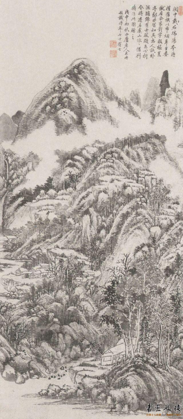 清 王时敏 虞山惜别图 纸本 墨笔 纵134厘米 横60厘米 故宫博物院藏
