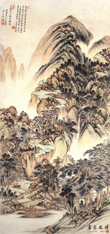 清 王时敏 仿大痴山水图轴 纸本 设色 纵155厘米 横72.5厘米 南京博物院藏