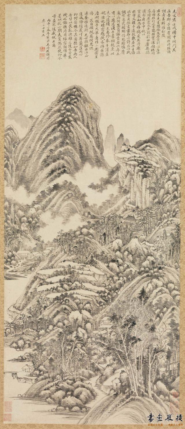 清 王时敏 仿黄子久山水图轴 纸本 墨笔 纵222.9厘米 横71.8厘米 大都会艺术博物馆藏