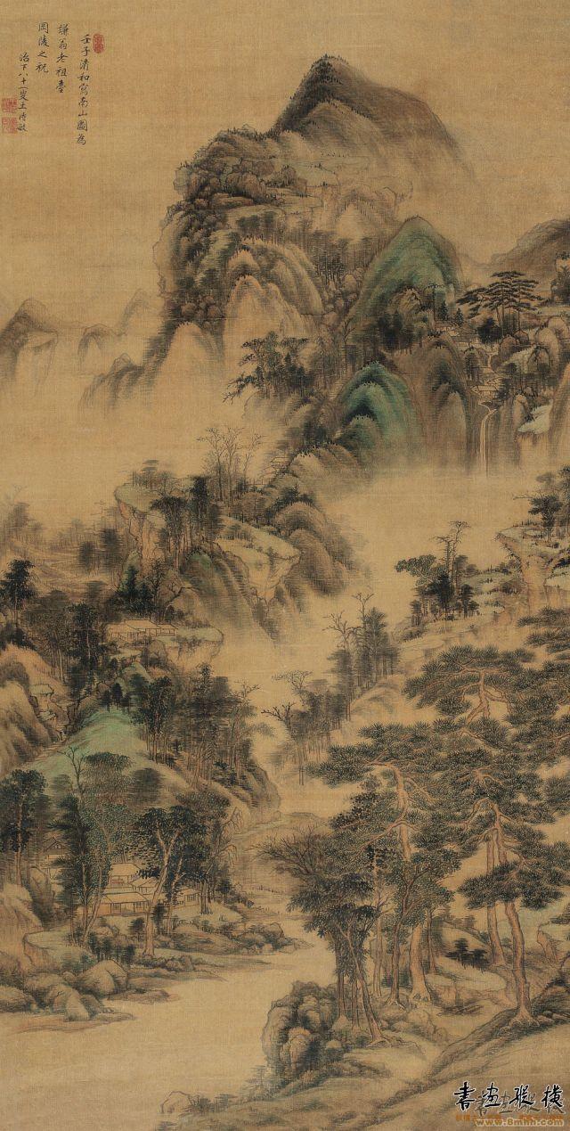 清 王时敏 南山图 纸本 水墨设色 纵151厘米 横77厘米