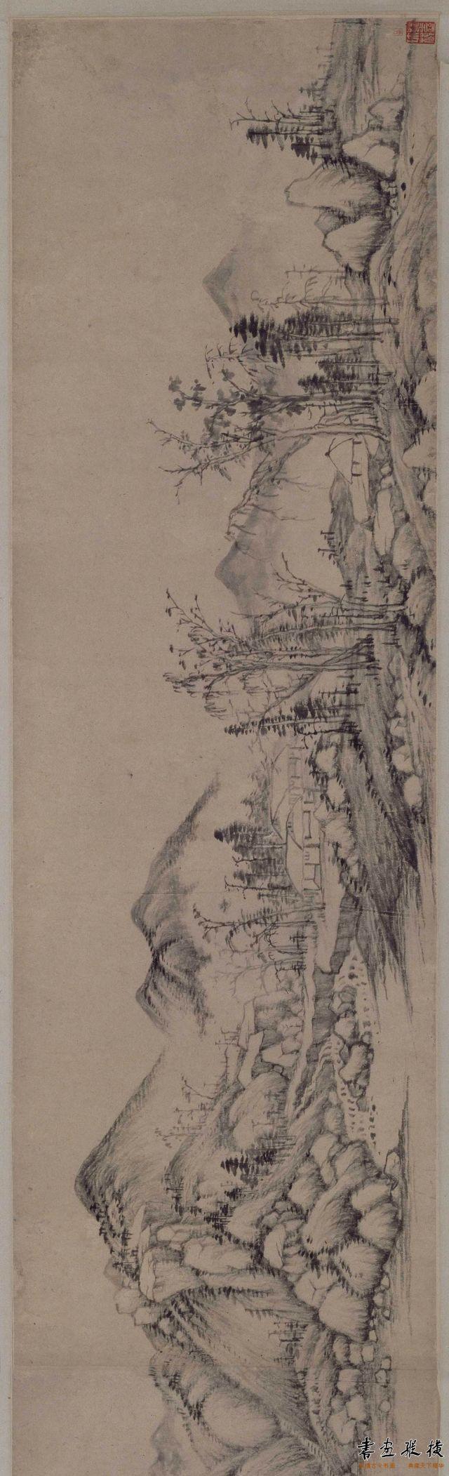 清 王时敏 长白山图卷 纸本 墨笔 纵31.5厘米 横201厘米 故宫博物院藏 001