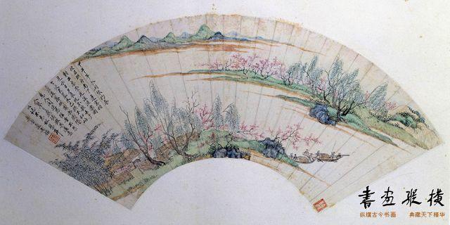 清 王鉴 花溪渔隐图 纸本 设色 纵15.7厘米 横51.8厘米 故宫博物院藏