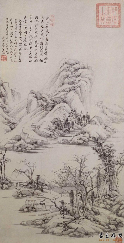 清 王鉴 溪亭山色图 纸本 墨笔 纵80.1厘米 横41厘米 故宫博物院藏