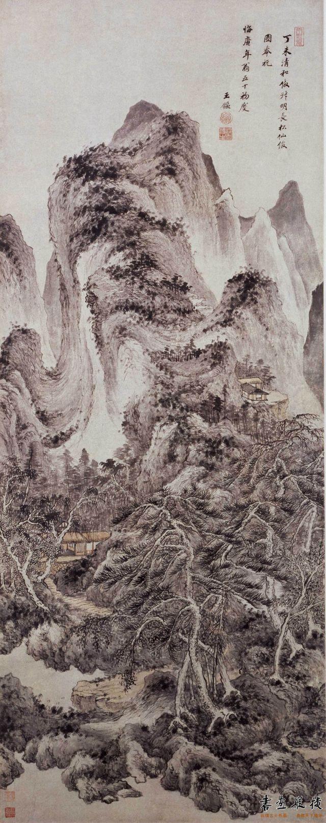 清 王鉴 仿叔明长松仙馆图轴 纸本 设色 纵138.2厘米 横54.5厘米 故宫博物院藏