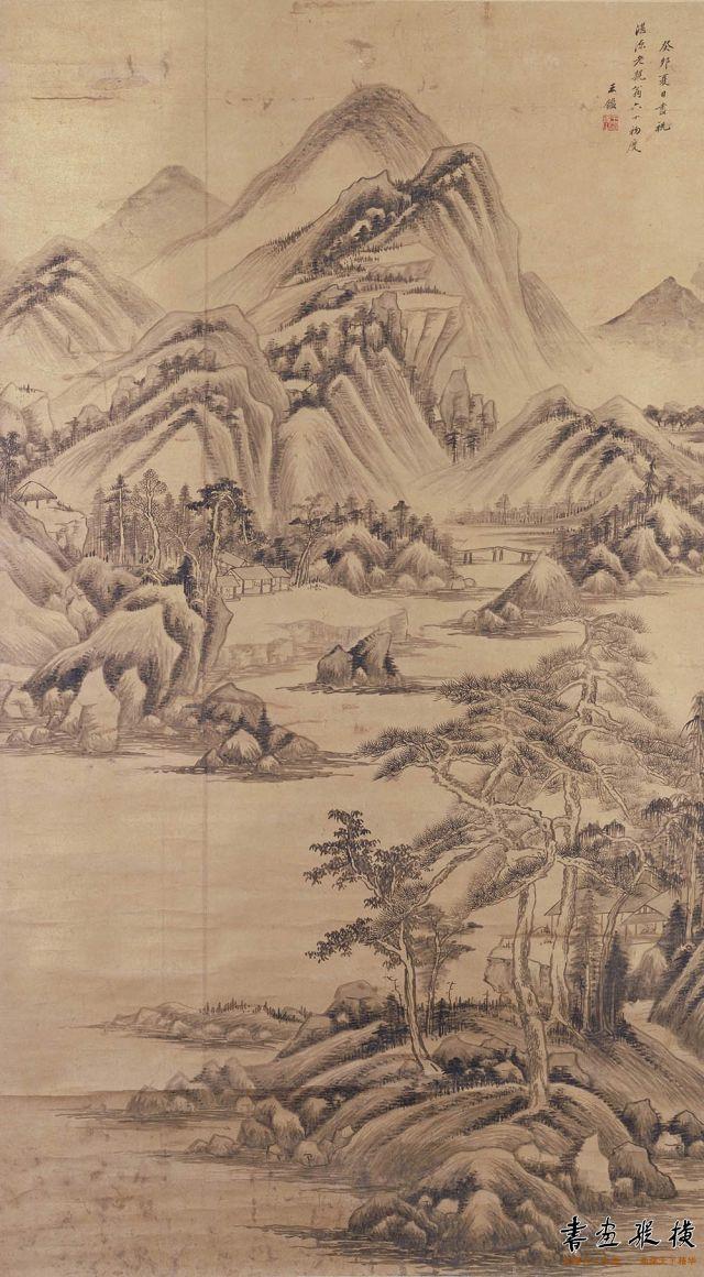 清 王鉴 山水图 纸本 墨笔 纵155.3厘米 横86.9厘米 故宫博物院藏
