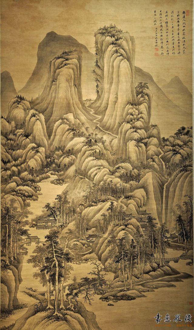 清 王鉴 关山秋霁图 绢本 墨笔 纵177厘米 横95厘米 广州艺术博物馆藏