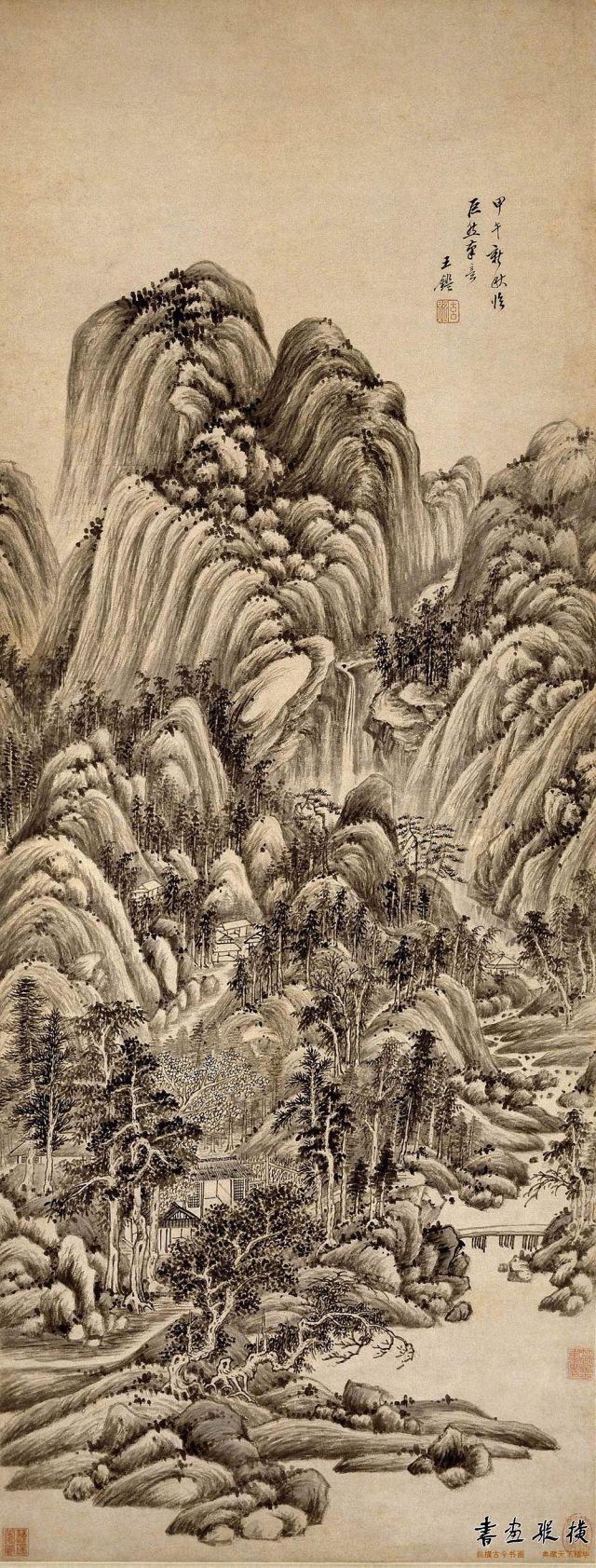 清 王鉴 仿巨然笔意山水轴 大英博物馆藏