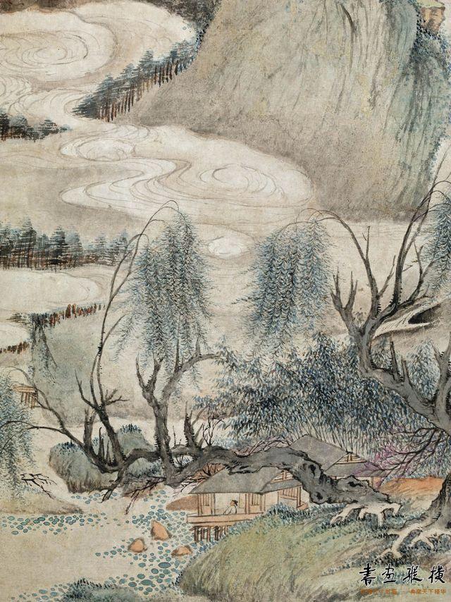 清 王鉴 春山烟霭图 纸本 设色 纵91厘米 横99厘米