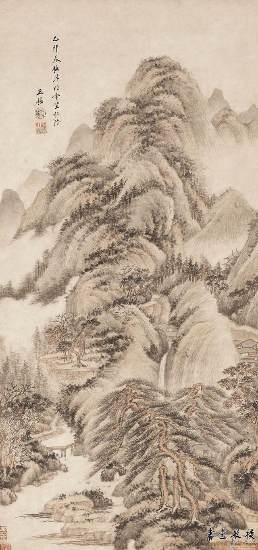 清 王鉴 云壑松荫图 纸本 设色 纵108.3厘米 横52厘米
