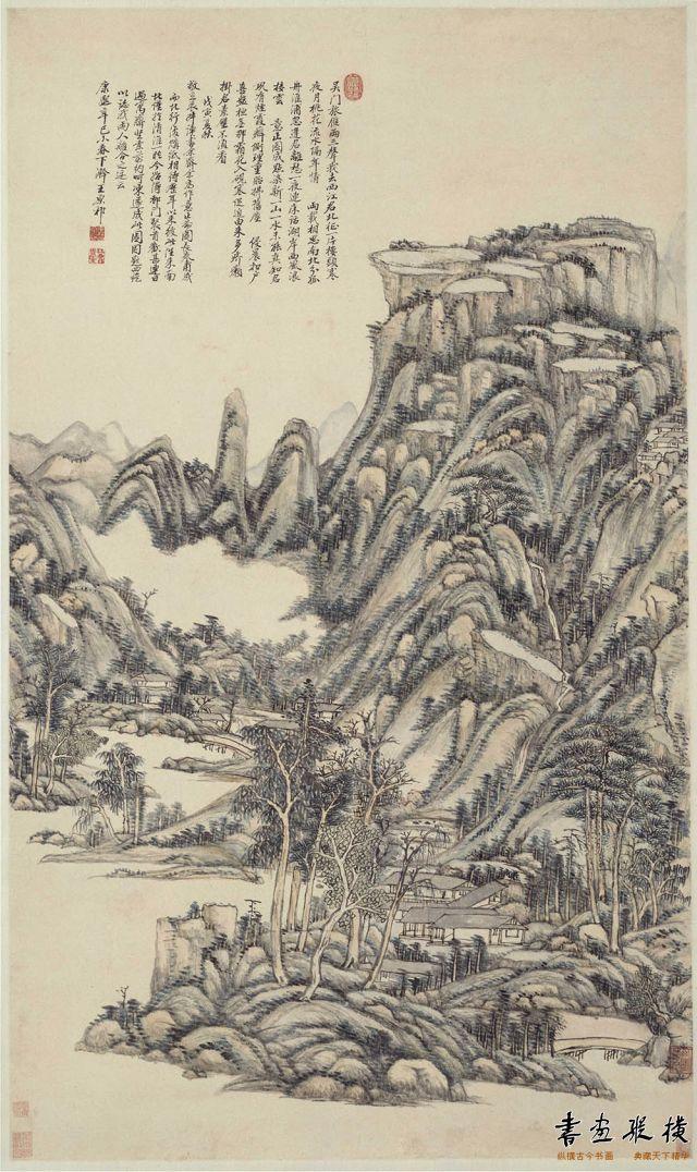 清 王原祁 送别诗意图 纸本 设色 纵128.6厘米 横75.6厘米 故宫博物院藏