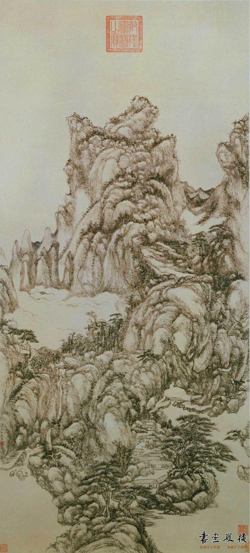 清 王原祁 松溪仙馆图 纸本 墨笔 纵118.5厘米 横54.5厘米 故宫博物院藏