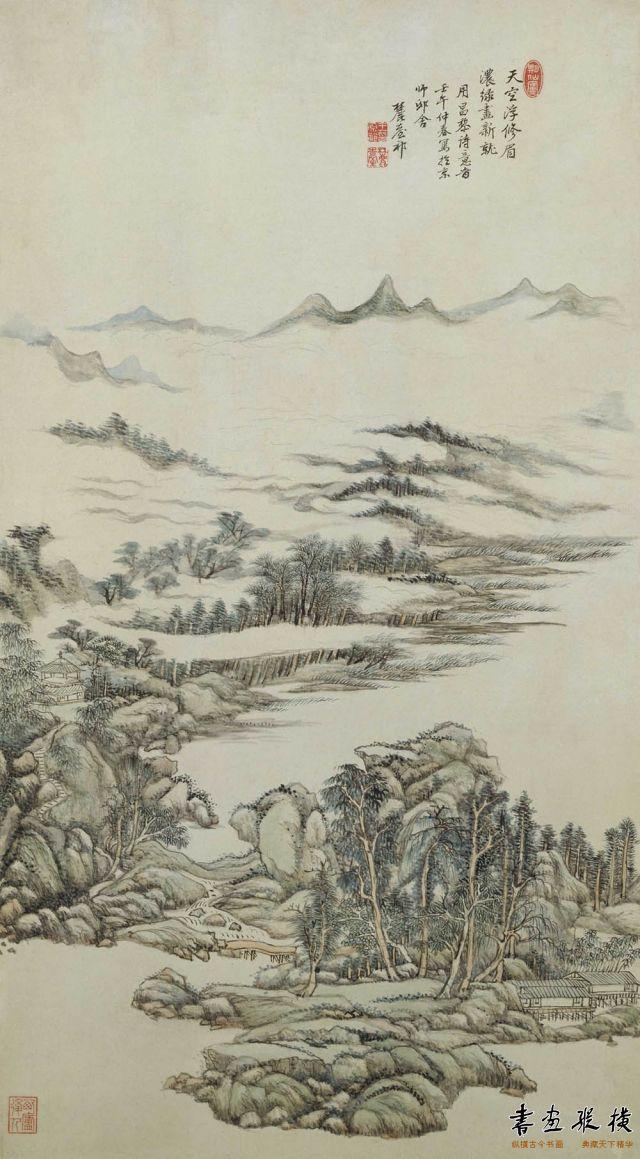 清 王原祁 昌黎诗意图 纸本 设色 纵97.5厘米 横54.3厘米 故宫博物院藏