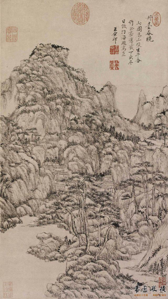 清 王原祁 丹台春晓图 纸本 墨笔 纵54.6厘米 横30.5厘米 故宫博物院藏