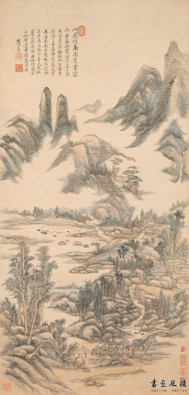 清 王原祁 仿高尚书云山图 纸本 设色 纵113.6厘米 横54.4厘米 上海博物馆藏