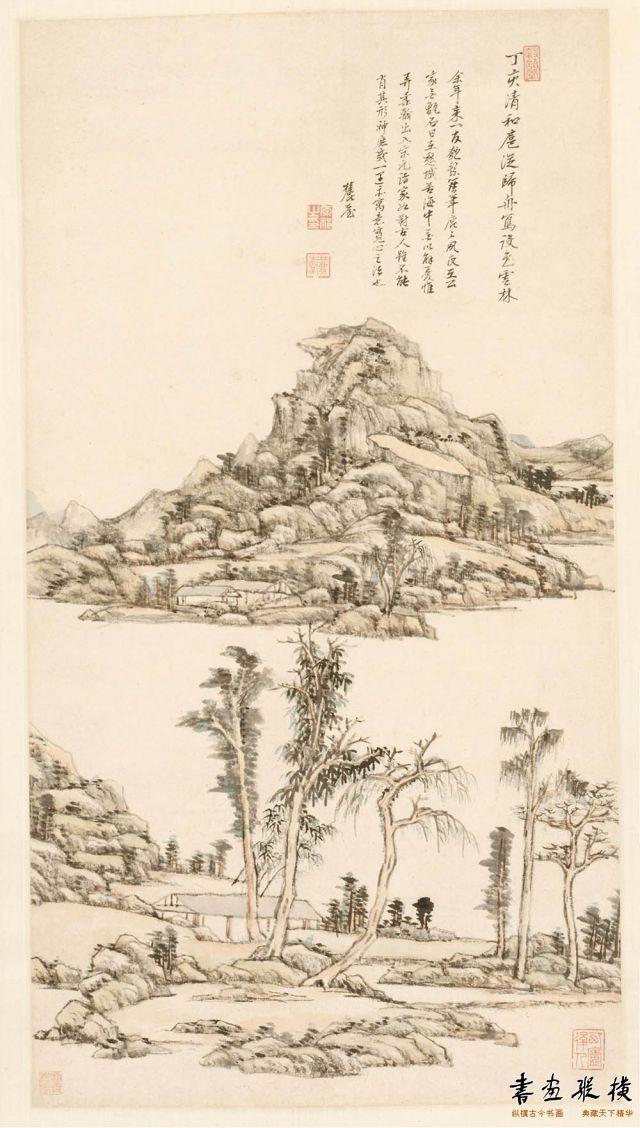 清 王原祁 山水图轴 纸本 墨笔 纵80.4厘米 横43.5厘米 美国克利夫兰美术馆藏