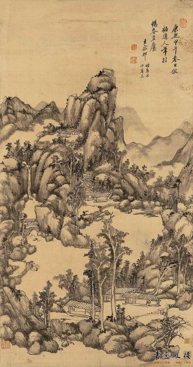 清 王原祁 清壑泉声图 绢本 墨笔 纵102.6厘米 横53.5厘米