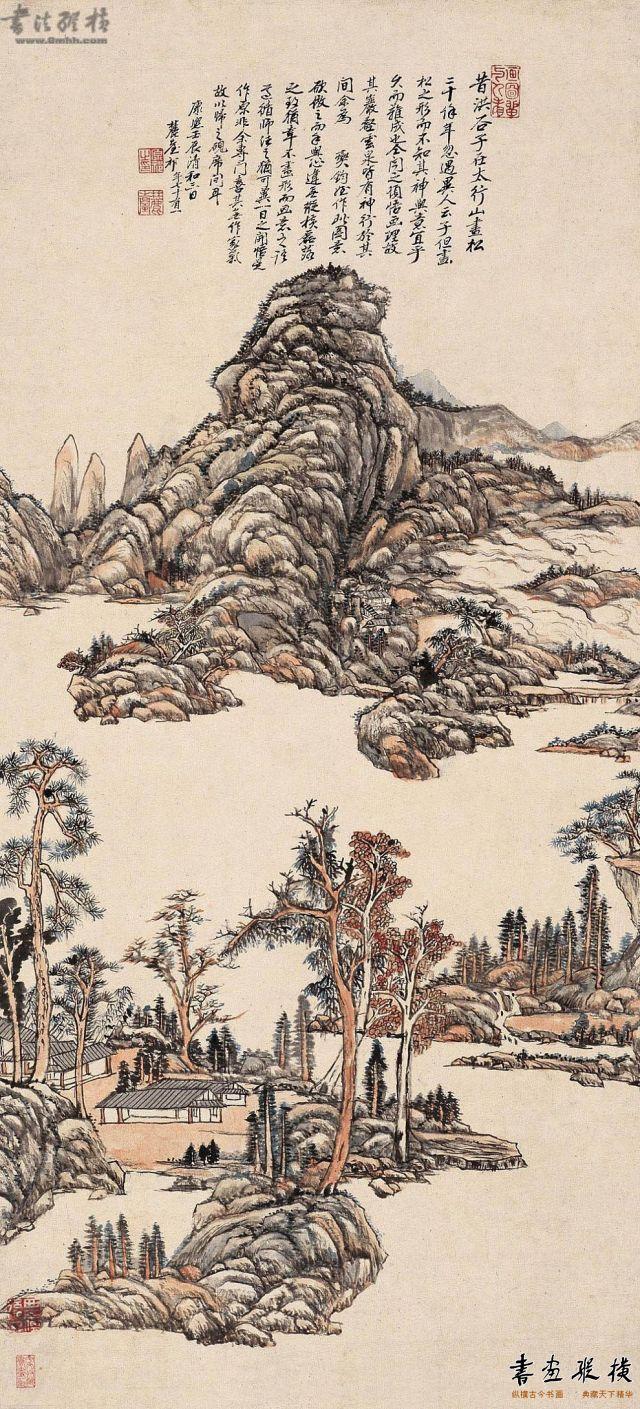 清 王原祁 仿洪谷子山水图 纸本 设色 纵103.5厘米 横47.2厘米