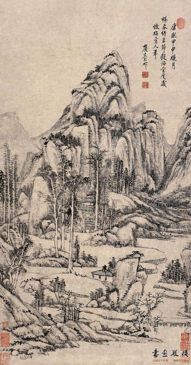 清 王原祁 仿梅道人山水图 纸本 设色 纵95厘米 横50厘米
