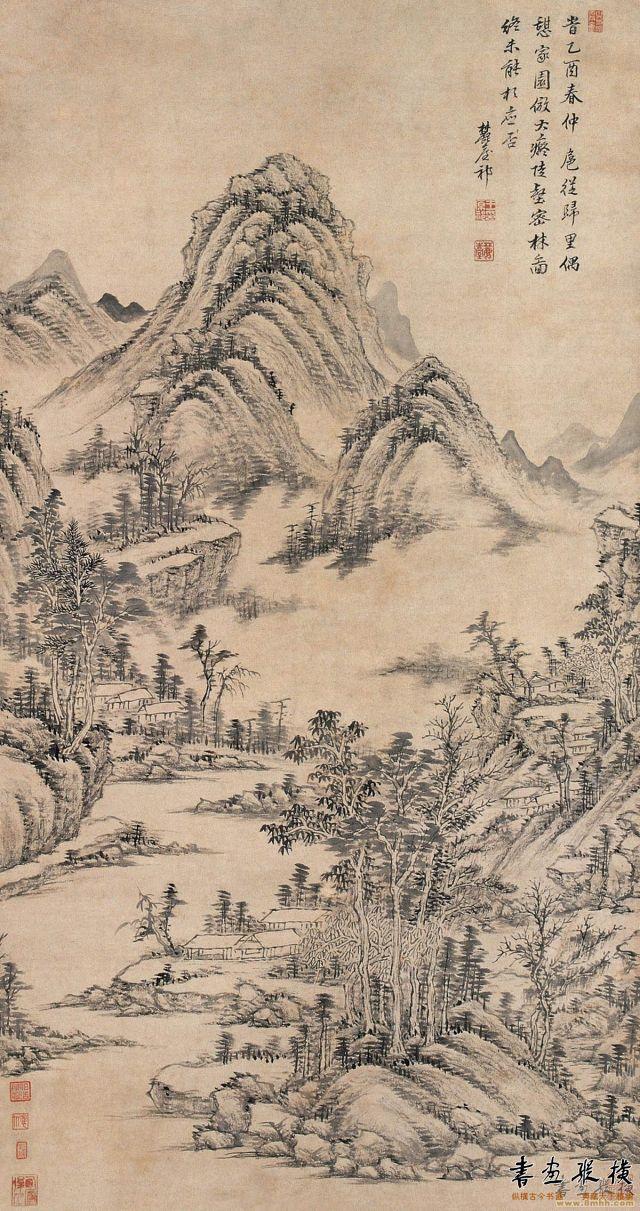 清 王原祁 陡壑密林图轴 纸本 墨笔