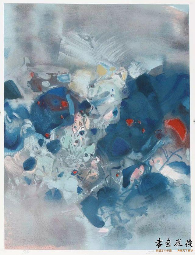 西泠网拍八月夏季大拍 朱德群(1920-2014)平静 纸本石版画