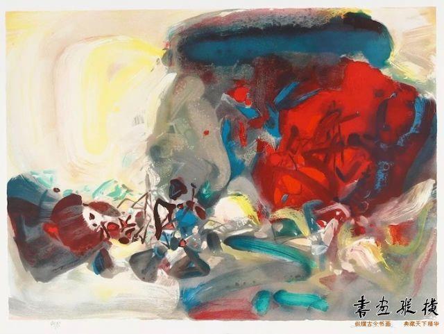 西泠网拍八月夏季大拍 朱德群(1920-2014)喜相逢 纸本石版画