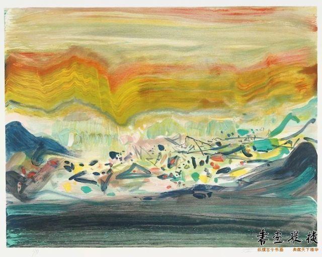 西泠网拍八月夏季大拍 朱德群(1920-2014)田园 纸本石版版画