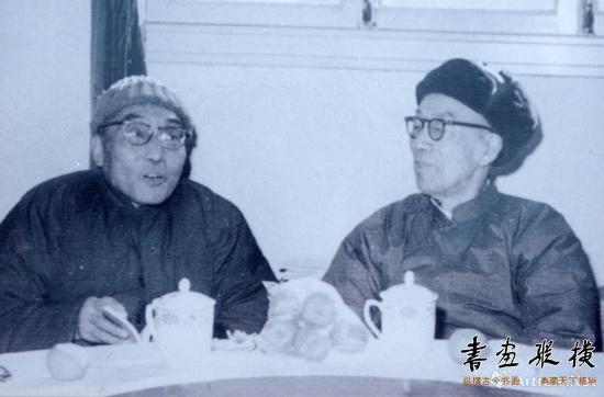 1986年,钱君匋与沙孟海在杭州