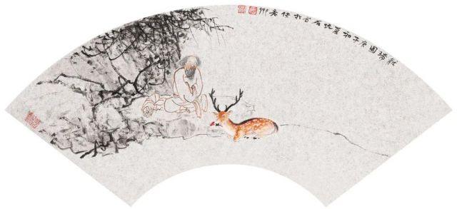 003 吴悦石献瑞图 22cm×46cm 银笺设色2020年