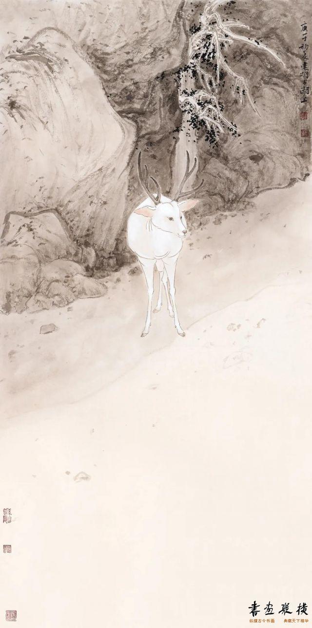 013 吴建明白鹿仙踪 90cm×45cm纸本设色2020年