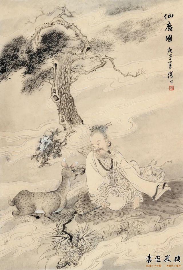 孙俊之仙鹿图70cm×48cm纸本设色2020年