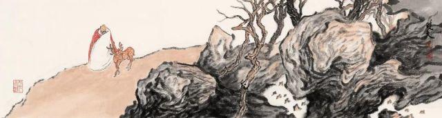 姜晓文溪山携鹿18cm×68cm纸本设色2020年