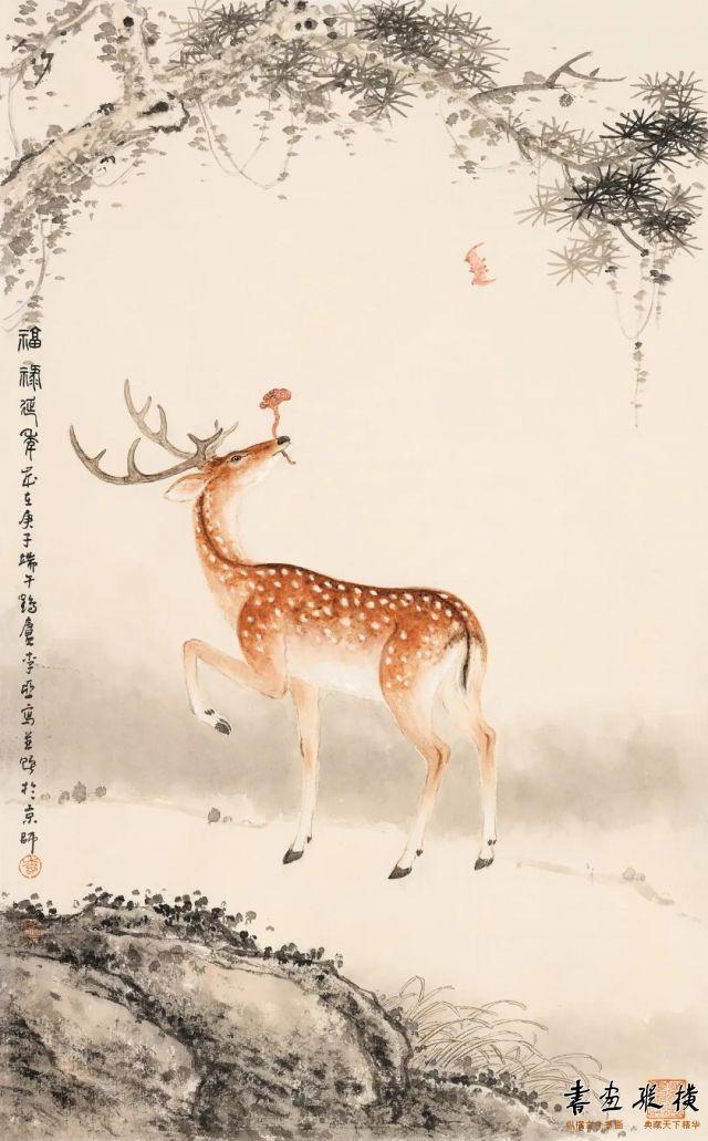 李亚福禄延年74cm×46cm纸本设色2020年
