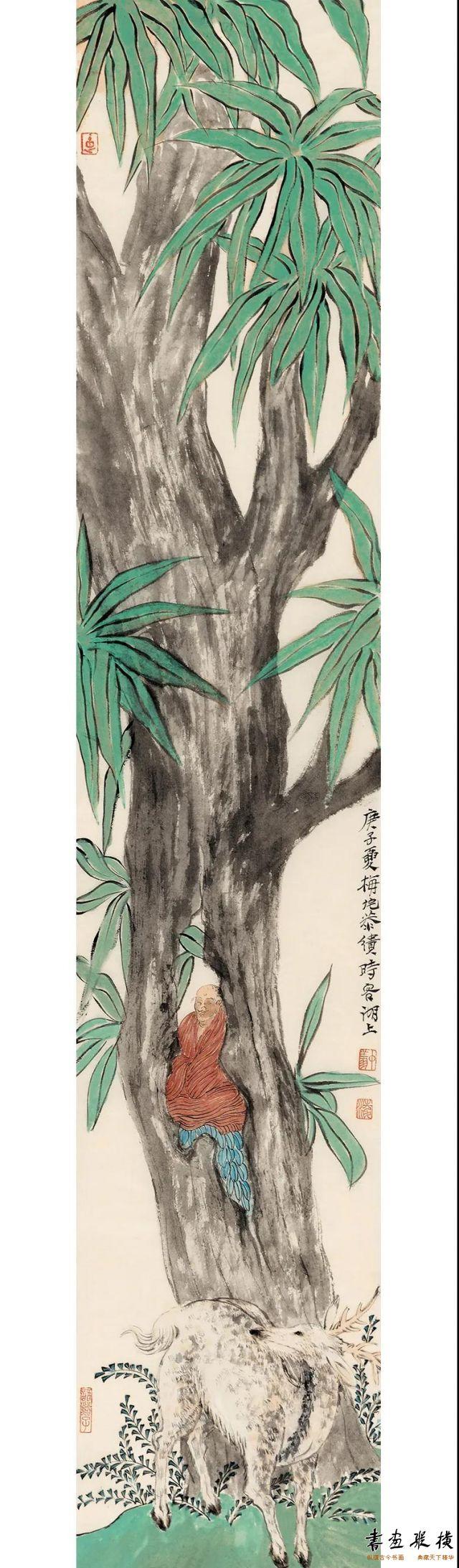 凌中翔祥鹿89cm×17cm纸本设色2020年