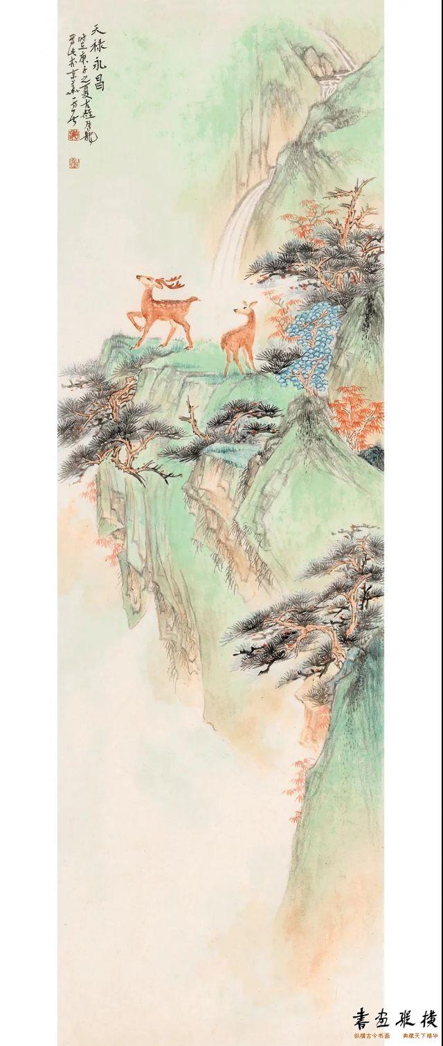马龙天禄永昌64cm×20cm纸本设色2020年